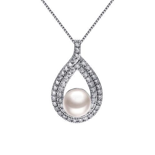 Moment-925 純銀鑲白鋯石配淡水珍珠吊墜連頸鏈