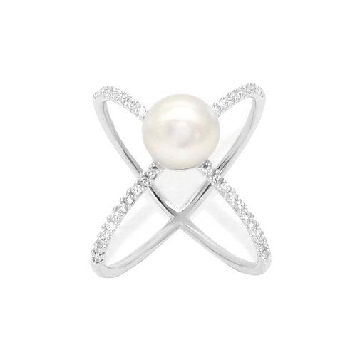 X- 淡水珍珠鑲白鋯石純銀戒指