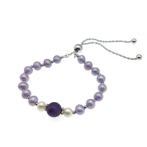 紫水晶配淡水養殖珍珠925純銀手鏈-可調節長度