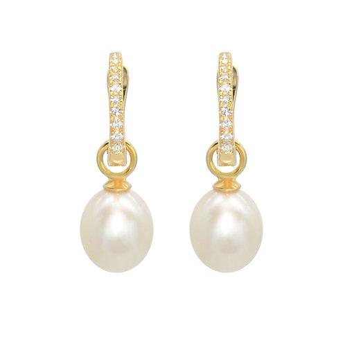 Queenie- 淡水珍珠鑲白黃玉純銀耳環