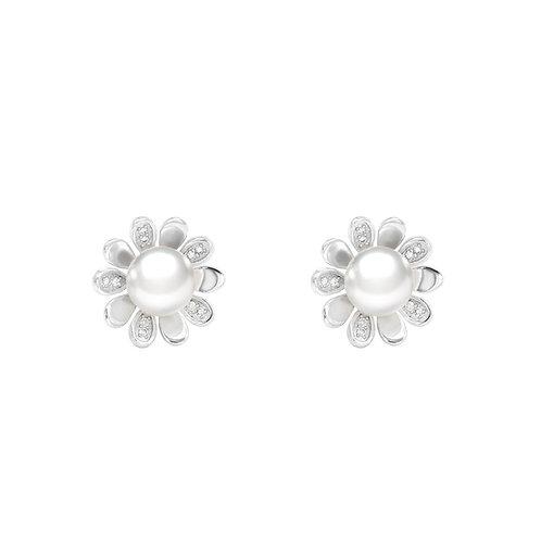 Daisy-淡水珍珠配 926純銀鑲白鋯石耳環