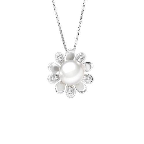 Daisy-淡水珍珠配 926純銀白鋯石吊墜