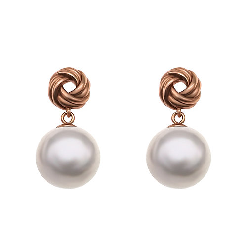 Knot- 925純銀鍍玫瑰金配淡水珍珠耳環