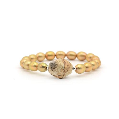 淡水珍珠配圖畫石手鏈 pearl with picture stone