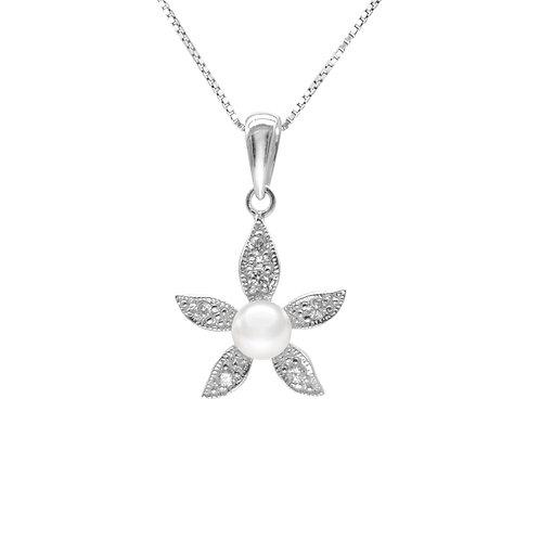 Bauhinia-淡水珍珠配 926純銀鑲白鋯石吊墜