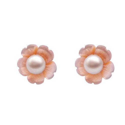 四月生日花(櫻花)-珍珠貝及淡水珍珠純銀耳環