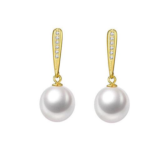 14K黃金/585 鑲天然鑽石配淡水珍珠耳環