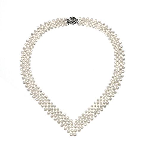 Dorothy-淡水珍珠配銀色扣織鏈