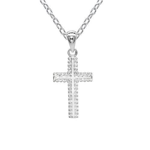 Pray-926純銀鑲白鋯石吊墜
