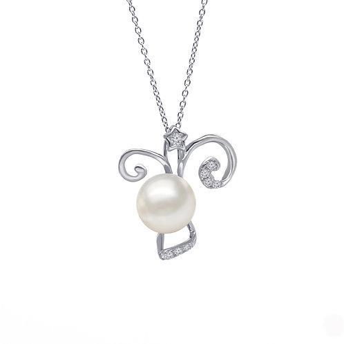 山羊座/Capricorn-14K/585 白金鑲天然鑽石配淡水珍珠吊墜