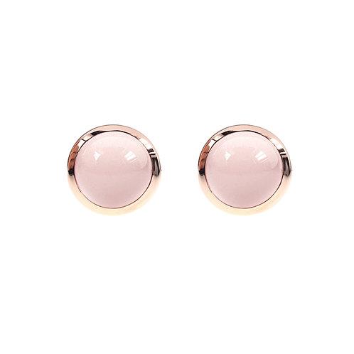 無條件的愛系列-玫瑰金色925銀鑲粉紅水晶耳環