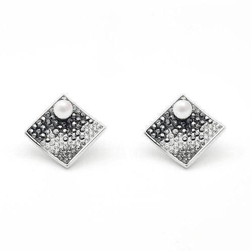 puzzel-Swarovski 水晶配淡水珍珠及 925純銀耳環