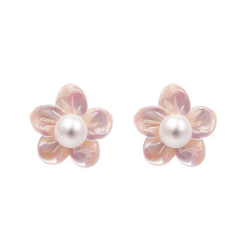 櫻花- 925 純銀配淡水珍珠及珍珠貝耳環