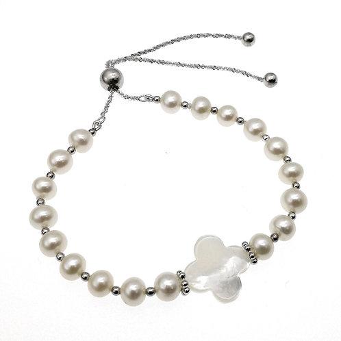 925 純銀 淡水養殖珍珠配珍珠貝手鏈-可調節長度