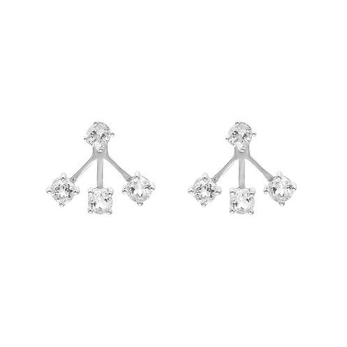 Shiny- 925銀鑲白黃玉4mm 耳環