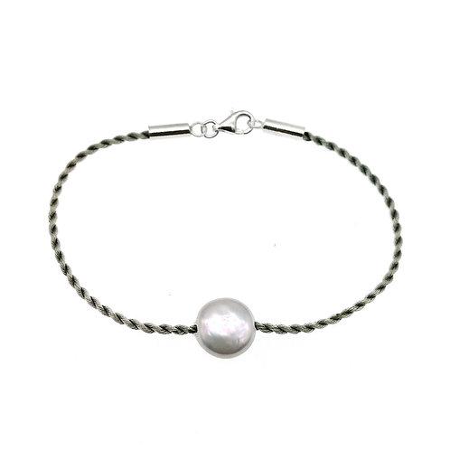 淡水珍珠配灰色絲繩手鏈