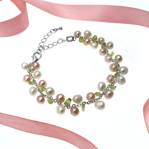 伴娘姊妹禮物- 橄欖石配淡水珍珠手鏈