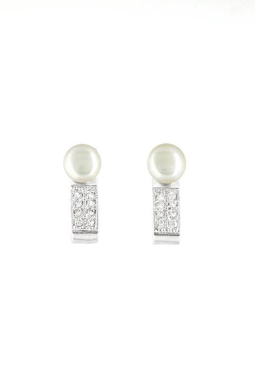 Pearl Lady  純銀淡水珍珠鋯石耳環