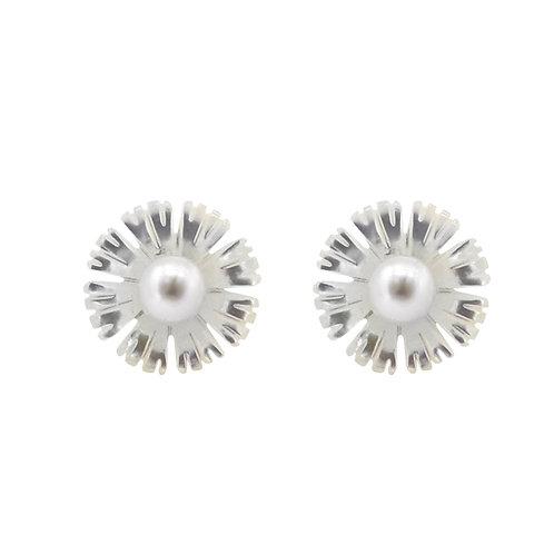 洋金菊- 925 純銀配淡水珍珠及珍珠貝耳環