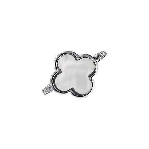 四葉草- 珍珠貝配925純銀鑲白鋯石戒指