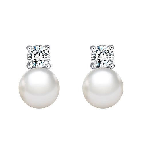 Illumination- 925 純銀鑲白黃玉淡水珍珠耳環