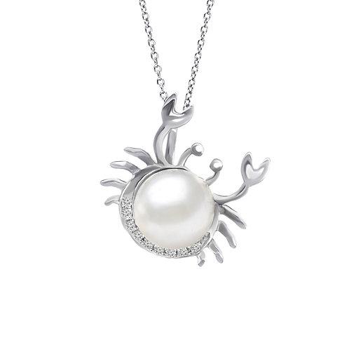 巨蟹座/Cancer-14K/585 白金鑲天然鑽石配淡水珍珠吊墜