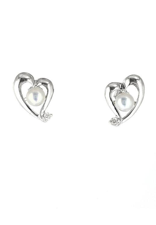 Alice Heart  純銀淡水珍珠鋯石耳環