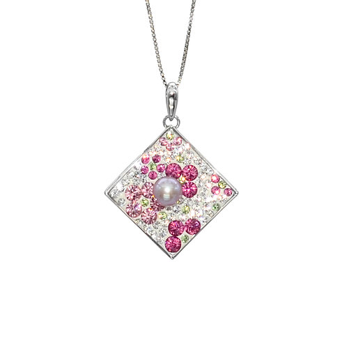 Lucky message-Swarovski 水晶配淡水珍珠及 925純銀吊墜
