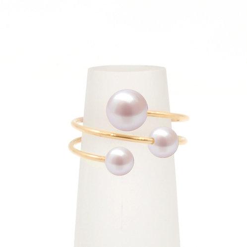 惑星bubble ring-14K金包金線珍珠戒指