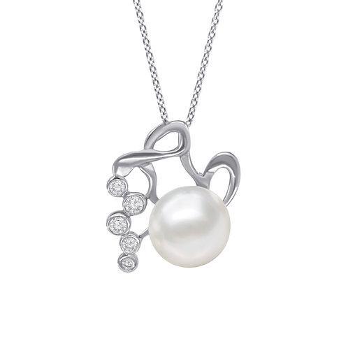 水瓶座/Aquarius-14K/585 白金鑲天然鑽石配淡水珍珠吊墜