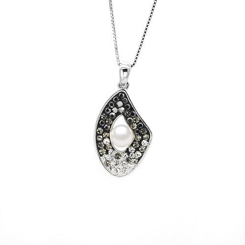 Egg-Swarovski 水晶配淡水珍珠及 925純銀吊墜