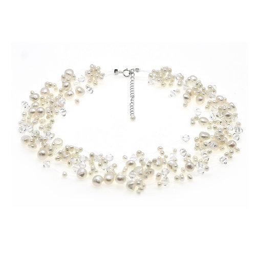 Pure- 婚嫁淡水珍珠配施華洛世奇水晶頸鏈