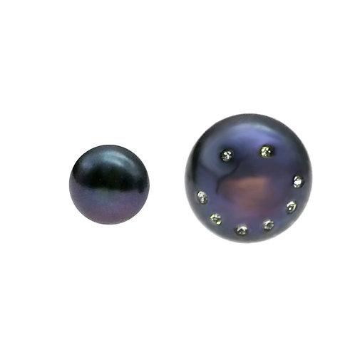 Smile :)-淡水養殖珍珠鑲白鋯石925純銀耳環