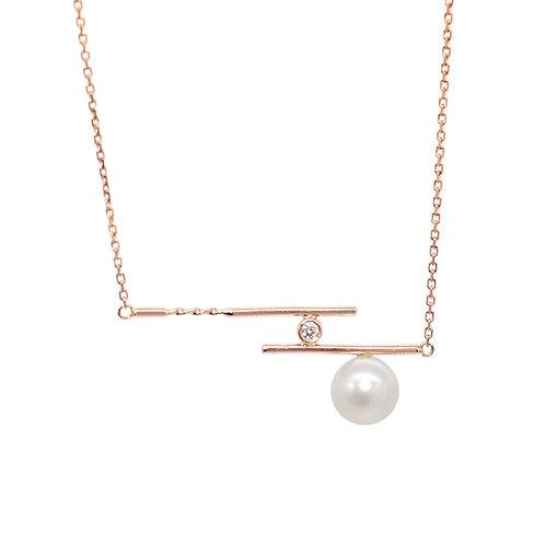 Zen-18K/750 玫瑰金淡水珍珠鑽石頸鏈
