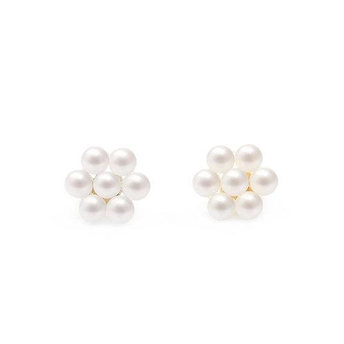 14K金淡水珍珠織花耳環