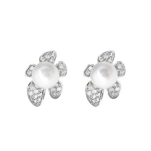 Flora- 淡水珍珠配925銀鑲白鋯石耳環