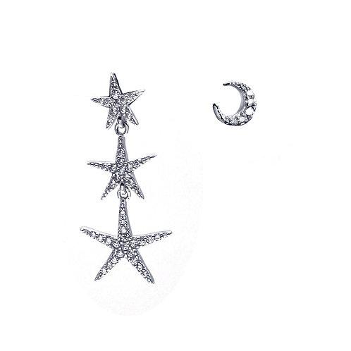星和月-925純銀鑲白鋯石不對稱耳環