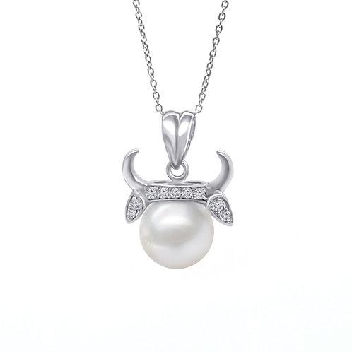 金牛座/Taurus-14K/585 白金鑲天然鑽石配淡水珍珠吊墜