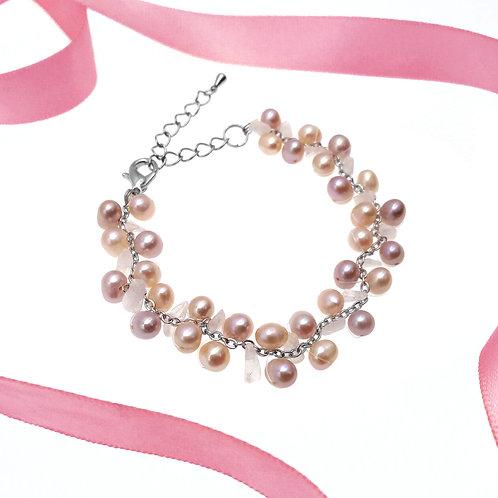 伴娘姊妹禮物- 粉晶配淡水珍珠手鏈4,5,6件裝