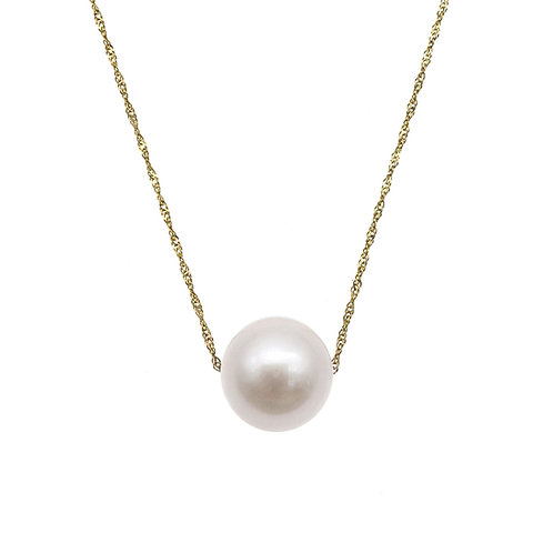 14K/585 黃金 淡水養殖珍珠吊墜連項鍊-白色