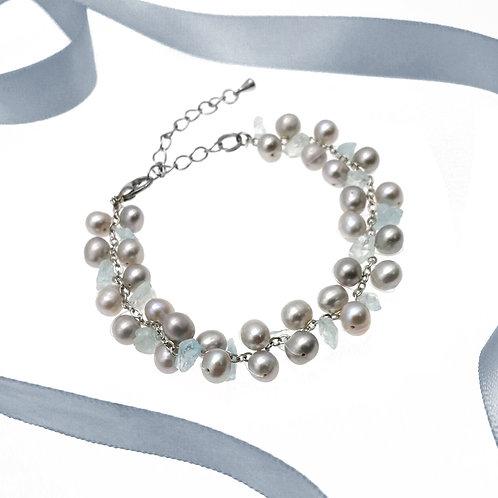伴娘姊妹禮物-海藍寶配淡水珍珠手鏈4,5,6件裝
