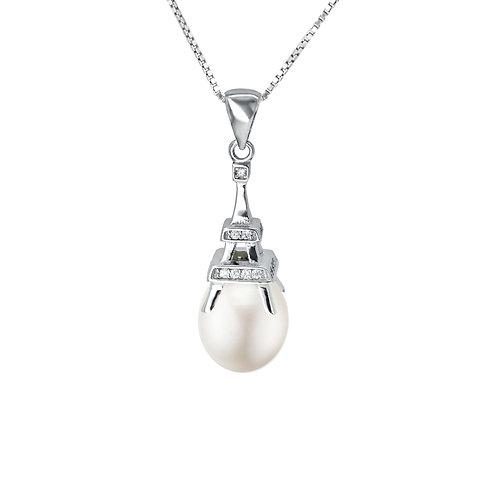 La Tour Eiffel- 淡水珍珠配925銀鑲白鋯石吊墜