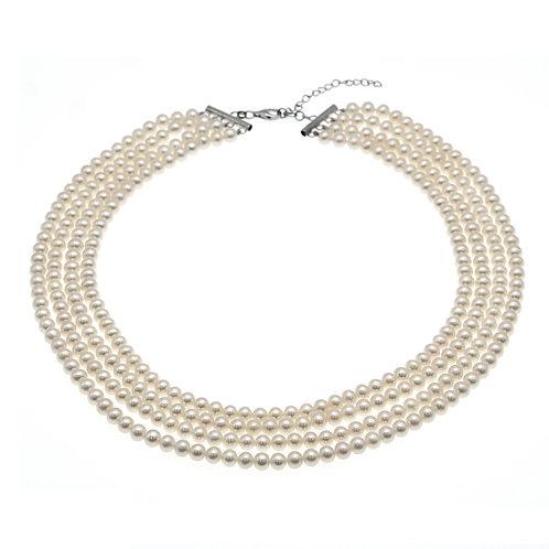 淡水珍珠配純銀4行頸鏈