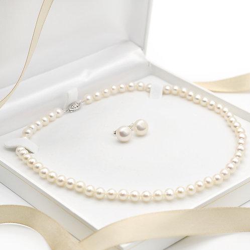 6-7mm淡水珍珠純銀頸鏈及耳環禮物套裝