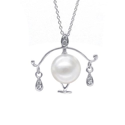 天秤座/Libra-14K/585 白金鑲鑽天然石配淡水珍珠吊墜
