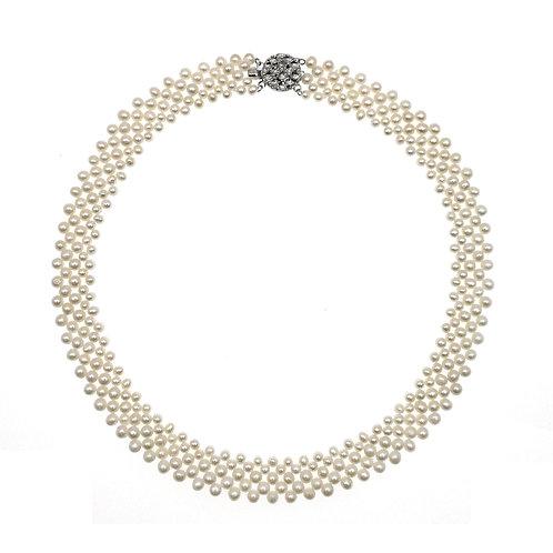Dorothy Round-淡水珍珠配銀色織鏈