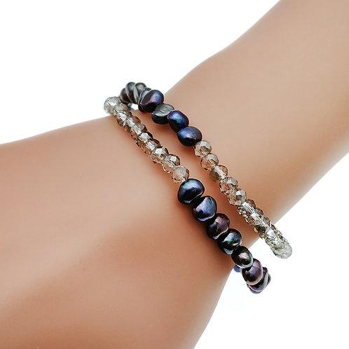 Twisted- 淡水珍珠配水晶彈性手鏈