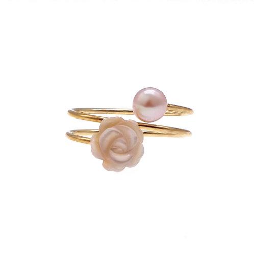 Floral- 14K包金925 純銀配淡水珍珠及珍珠貝戒指