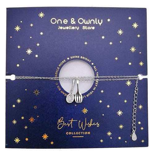 湯匙與叉子- 925純銀鑲鑲白鋯石吊墜連鏈