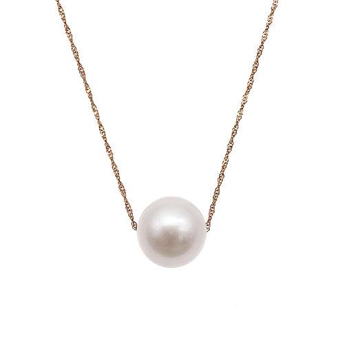 14K/585 玫瑰金 淡水養殖珍珠吊墜連項鍊-白色